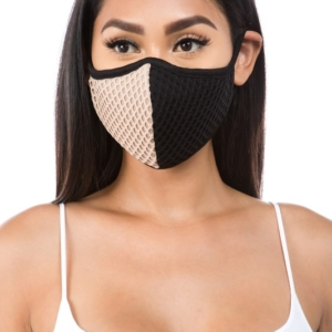 Colorblock Fishnet NUDE Washable Face Mask