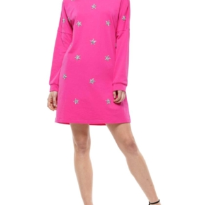 "Star Long Sleeve Dress/Tunic  *Sizes Small-XL"" 2 Colors Black & Pink"