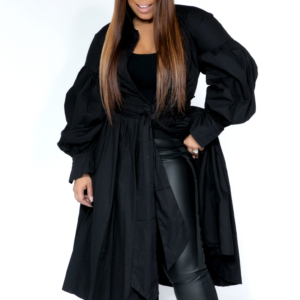 Kelsey Pleated Duster/Dress Black & White Available