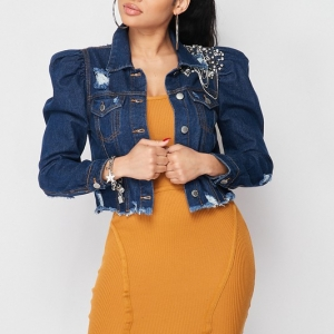 IN CONTROL Embroidered Jewelled Puff Sleeve Denim Jacket