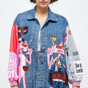 PINK Panther Themed Embroidered Denim Jacket