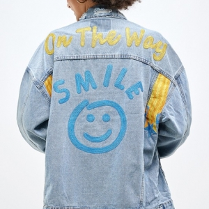 LOVE To See You SMILE Embroidered Denim Jacket