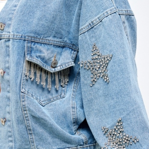 5 STARS Rhinestone Sleeve Denim Jacket