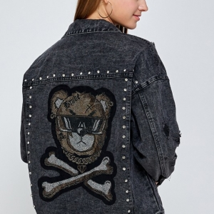 Shaddy Bear Rhinestone Hand Embroidered Denim Jacket