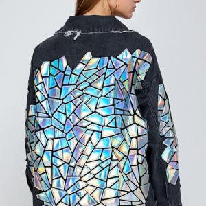 Hologram Mirror Premium Hand Embroidered Denim Jacket