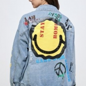 Peace Love & Smiles Rhinestone Graphic Denim Jacket