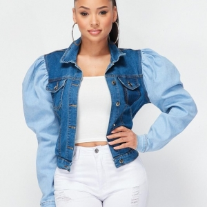 Two Faced Bubble Sleeve Denim Jacket