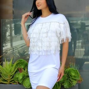 Miami Nights Rhinestone Fringe Shirt Dress