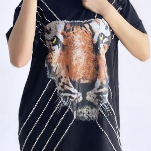 In The Wild Tiger Rhinestone Tshirt Dress/Tunic