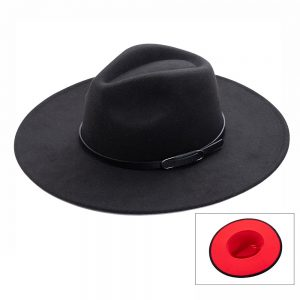 Red Bottom Faux Leather Belted Brim Hat