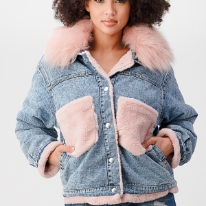 Doing The Most Denim Faux Fur Lined Jacket